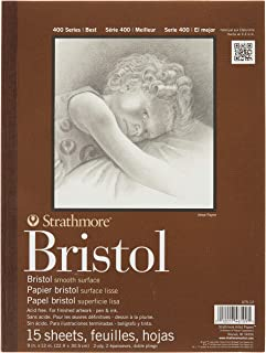 "Strathmore 400 Series Bristol, 2-Ply Smooth, 9""X12"" Tape Bound, 15 Sheets"