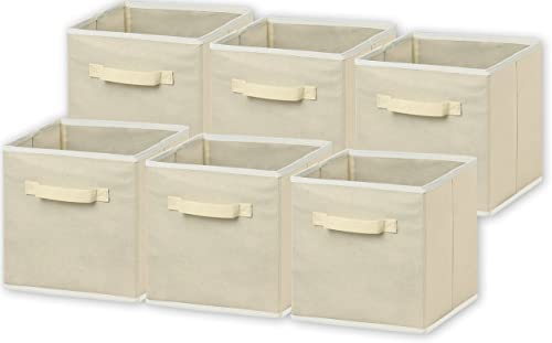 "6 Pack - SimpleHouseware Foldable Cloth Storage Cube Basket Bins Organizer, Beige (11"" H x 10.75"" W x 10.75"" D)"