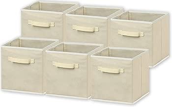 6 Pack - SimpleHouseware Foldable Cloth Storage Cube Basket Bins Organizer, Beige (11