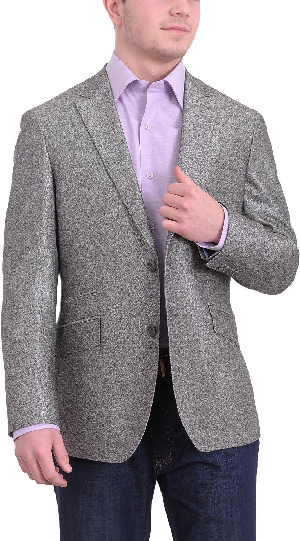 Napoli Mens Max 62% OFF Gray Sharkskin Half Canvassed Silk Wool Blend trend rank Blazer
