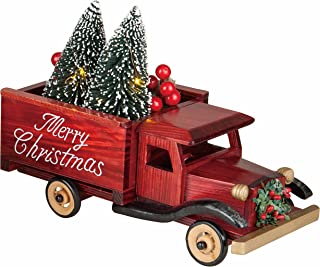 LED Light-up Merry Christmas Wooden Truck with Lighted Bottle Brush Christmas Tree Holiday Decoration (Red)