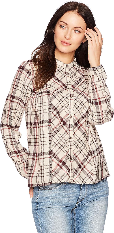 Lucky Brand Womens Plaid Peasant Shirt Blouse