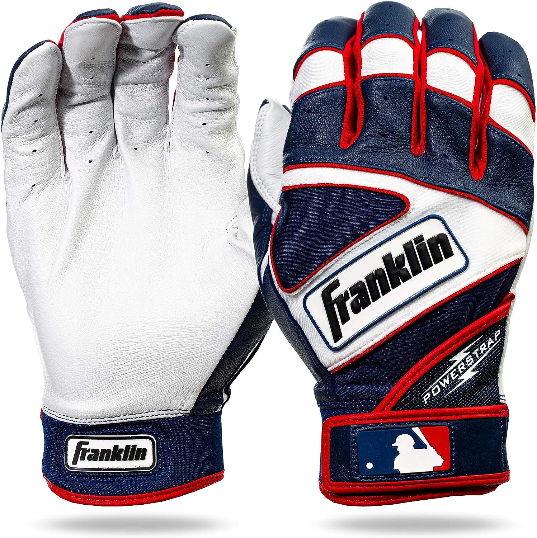 Franklin Sports MLB Powerstrap Batting Gloves, Pearl/Navy/Red -