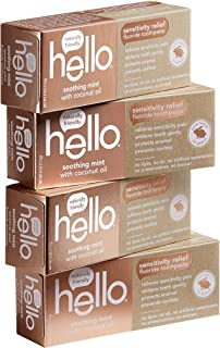 Hello Oral Care Sensitivity Relief Fluoride Toothpaste with No Artificial Sweeteners, SLS Free, Soothing Mint with Coconut Oil, 4 Count