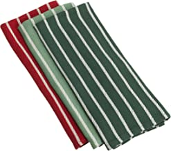 DII Holiday Heavyweight Essential Kitchen Towel, Green and Red Multi, Set of 3