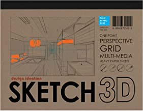 Design Ideation SKETCH 3D Multi-Media Perspective Grid Paper for Pencil, Ink, Marker and Watercolor Paints. Great for Art, Design and Education. One Point Perspective Grid. Non Repro Blue.