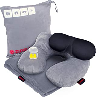ZIDELI Travel Blanket – 4-in-1 Luxury Travel Set – Premium 200gsm Lightweight Airplane and Camping Blanket for Men & Women – Inflatable Velvet Pillow with Neck Support + Eye Mask & Ear Plugs (Gray)