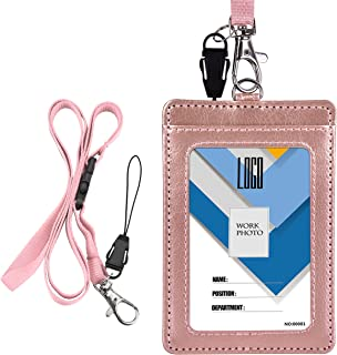 Badge Holder, Wisdompro 2-Sided PU Leather ID Badge Card Holder Wallet Case with 1 Clear ID Window and 1 Credit Card Slot and 22 Inch Quick Rlease Detachable Neck Lanyard Strap-Rosse Gold (Vertical)