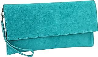 AMBRA Moda Damen Wildleder Clutch Handtasche veloursleder Tasche Handschlaufe WL811