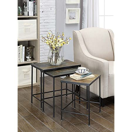 4d Concepts 3 Piece Nesting Tables With Slate Tops Metal Slate Furniture Decor