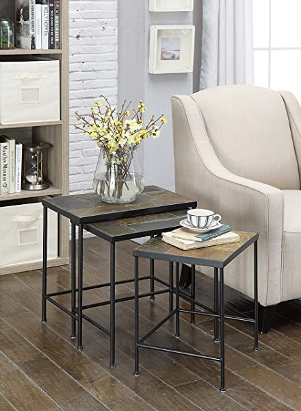 4D Concepts 3 Piece Nesting Tables With Slate Tops Metal Slate