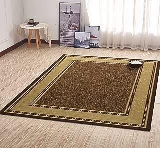 """Ottomanson Contemporary Bordered Design Modern Area Rug, 5' W x 6'6"""" L, Choclate"""