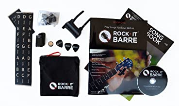Rock-iT Barre Guitar Chord Device Beginner Package, Instructional Manual & DVD, Songbook, Clip-on Chromatic Tuner, W/Brown Stickers - Use On DARK OR ALL INSTRUMENT NECKS (Black Device)
