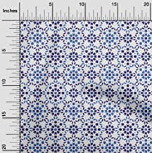 oneOone Velvet White Fabric Floral & Tiles Moroccan Fabric for Sewing Printed Craft Fabric by The Yard 58 Inch Wide