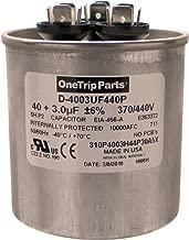 OneTrip Parts USA Run Capacitor 40+3 UF 40/3 MFD 370 VAC / 440 VAC 2-1/2 Inch Round Heavy Duty