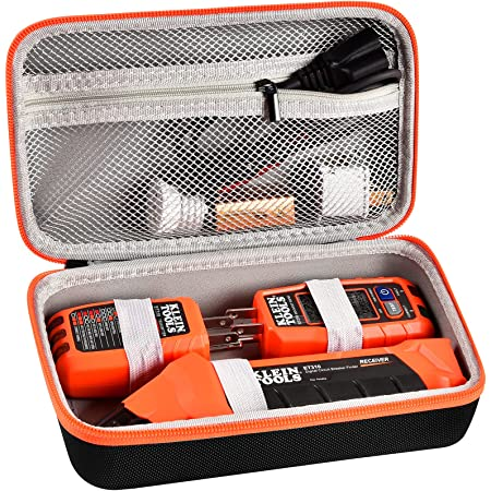 Case Compatible with Klein ET310 Tool AC Circuit Breaker Finder, Electrical Tools Bag Storage Organizer with Zipper Mesh Pocket for Integrated GFCI Outlet Tester and Accessories (Box Only)