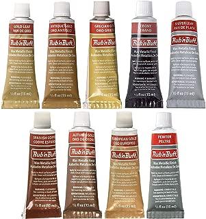 Amaco Rub 'N Buff Wax Metallic Finish, 9 Color Assortment (Gold Leaf, Antique Gold, Grecian Gold, Ebony, Silver Leaf, Spanish Copper, Autumn Gold, European Gold, Pewter)