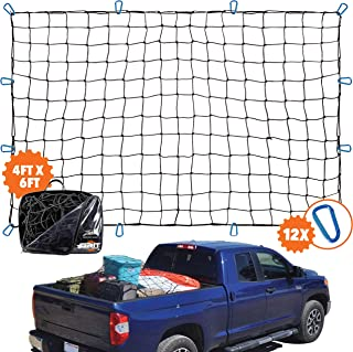 """4'x6' Super Duty Truck Cargo Net for Pickup Truck Bed Stretches to 8'x12'   12 Tangle-free [STEEL] Carabiners   Small 4""""x4"""" [LATEX] Bungee Net Mesh Holds Small and Large Loads Tighter"""