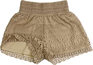 ToBeInStyle Girls' Juniors Teen Elegant Patterned Crochet Lined Lace Shorts