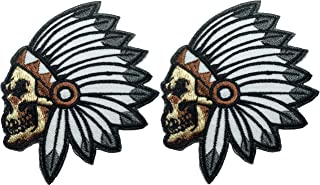 Set 2 of Feathered Indian Chief Head Death Skull Ghost Skeleton Embroidered Sew Iron on Patch (RR-IR