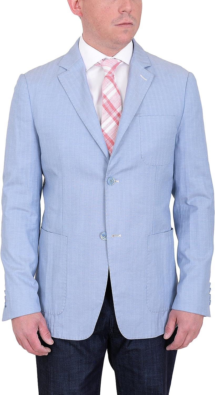 The Suit Depot Mens Modern Fit Sky bluee Herringbone Unstructured Cotton Field Jacket Sportcoat