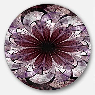 Designart Soft Pink Digital Art Fractal Flower Floral Metal Artwork-Disc of 23, 23'' H x 23'' W x 1'' D 1P