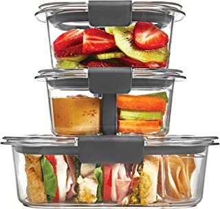 Rubbermaid Brilliance Plastic Food Storage Container, Sandwich and Snack Lunch Kit, 10 Piece Set, Clear | Bento Box Style | Microwave and Dishwasher Safe