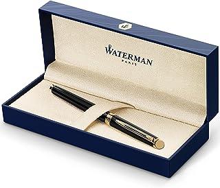 Waterman S0920630 Hemisphere Fountain Pen, Gloss Black with 23k Gold Trim, Medium Nib with Blue Ink Cartridge, Gift Box