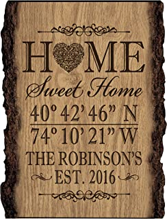 LifeSong Milestones Personalized Home Coordinates Latitude Longitude Barky Wall Sign with Family Last Name and Date Established Home Sweet Home (9x12)
