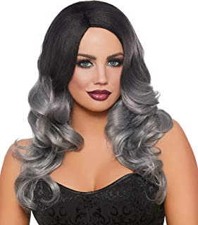 Dreamgirl Women's Long Wavy Black/Gray Ombré Wig, One Size