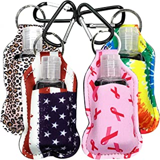 CompactKare Hand Sanitizer Holder Keychain Clip 4 Pack, with Empty Mini Refillable 30 ml Bottle Holder. The Perfect Hand S...