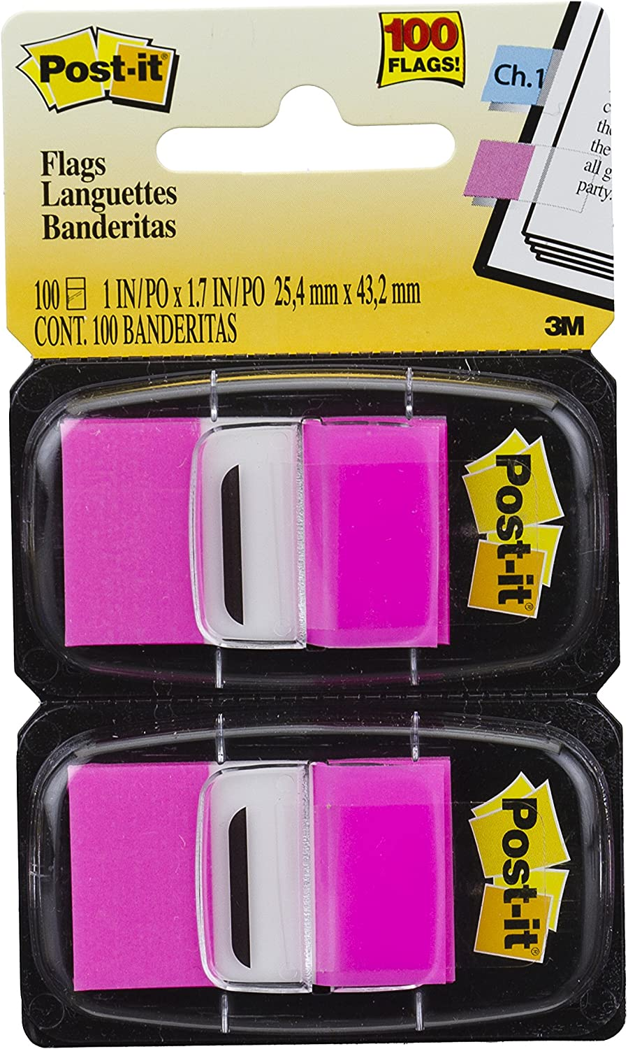 100 Flags Bright Pink Standard Page Flags in Dispenser 1-Inch Wide