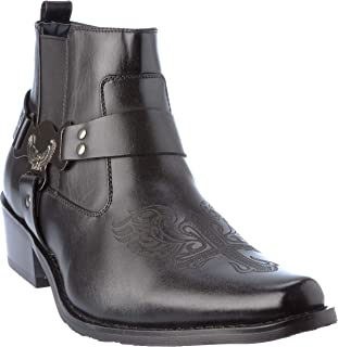 western10 Mens Western Style Cow-Boy Boots PU-Leather Dress-Shoes