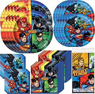 Cake Topper Bundle Hero Party Plates Napkins Tablecloth White Candles 8 Guests Biodegradable Wooden Forks Superhero Party Tableware