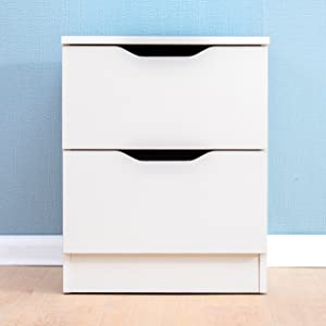 Cherry Tree Furniture 2-Drawer White Wood Bedside Table Night Stand Cabinet Chest of 2 Drawers