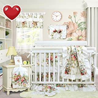Brandream Crib Bedding Sets for Girls with Bumpers 100% Cotton Ruffled Floral Baby Bedding Crib Sets, 11pieces