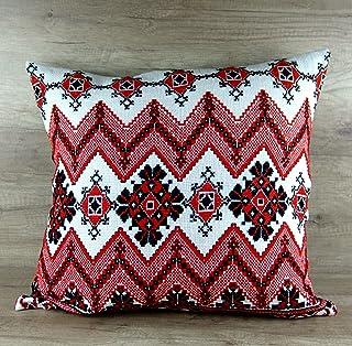 Ukrainian hand Emboidered Throw Pillow Cover Handmade Decorative Sofa Throw Pillow Cushion Cover Boho Bohemia Red Black