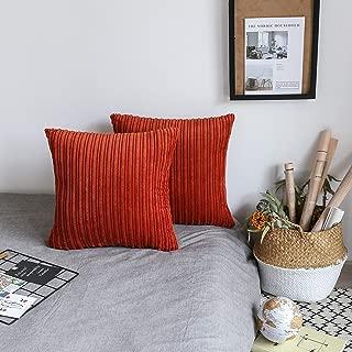 UGASA Soft Velvet Solid Square Decorative Cushion Cover Handmade Pillowcase with Hidden Zipper, 2 Packs, 18x18 inch, Burnt Brick