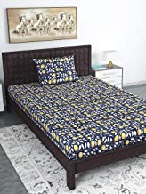 Divine Casa 104 TC 100% Cotton Abstract Single Bedsheet with 1 Pillow Cover, Navy Blue Color (Single Bed (57 W x 88 L Inch))