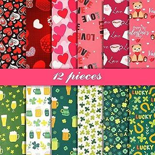 12 Pieces Valentine`s Day Cotton Fabric St. Patrick`s Day Fabric Heart Printed Fabric Squares Shamrocks Irish Cotton Fabri...