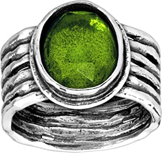 Daintree' 5 ct Natural Green Quartz Ribbed Ring in Sterling Silver