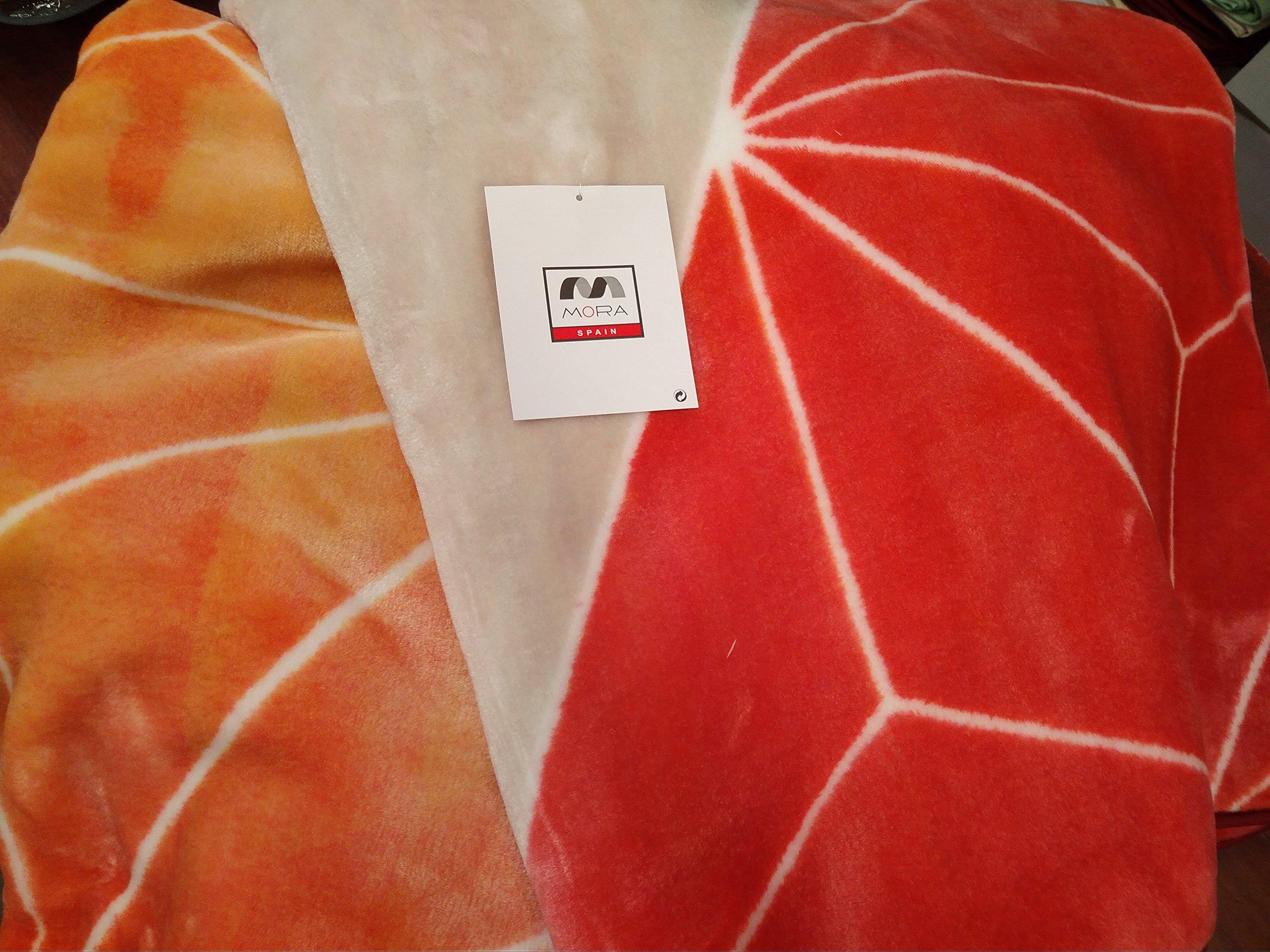Mora Manta Terciopelo Espectacular Hecha EN ESPAÑA Calida Y Suave COLORESS Vivos Naranja-Burdeos B-44 (170 X 240 CM): Amazon.es: Hogar