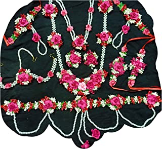 USHA BENTEX Pink Plastic; Paper; Fabric Artificial Flower Jewellery for Women for Baby Shower and Haladi