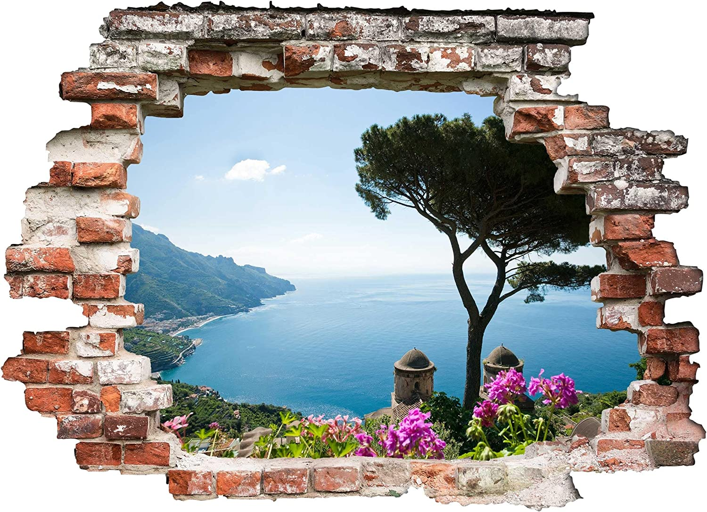 Bilderwelten 3D Wandtattoo - Ausblick vom Garten Garten Garten aufs Meer - Quer 3  4, Größe  90cm x 120cm B07DNHYBMP 1f04cb