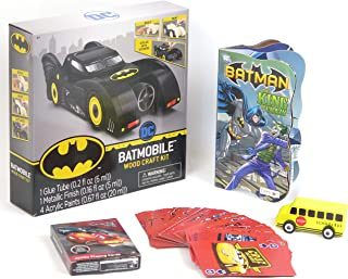 Batmobile and Batwing Wood Craft Kit, and Batman Book, Game Card, School Bus Toy car, Set of 5.