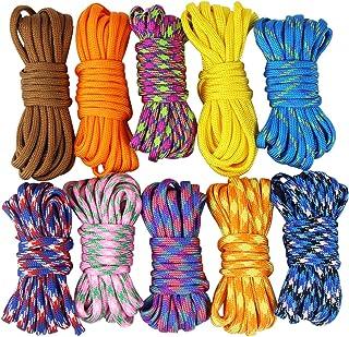 comprar comparacion Set de cuerdas de paracaídas Uooom para hacer brazaletes, trenzas, manualidades, acampar, supervivencia, 10 piezas,...
