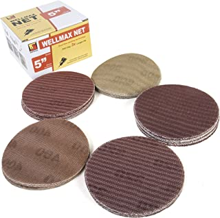 5 Inch Hook and Loop Sanding Discs, Orbital Sandpaper Pads 125 mm 50 Assortment Pack with 10 pcs Each Grit #80, 100, 120, 150, 180 with Dustless Replacement Disks Fit Most Sanders