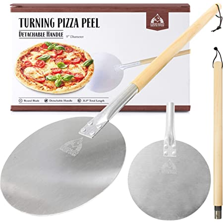 """Aluminum Turning Pizza Peel Paddle, 9 inch diameter Blade, Long 31.5"""" Handle with Leather Strap - Outdoor Pizza Oven Accessories"""
