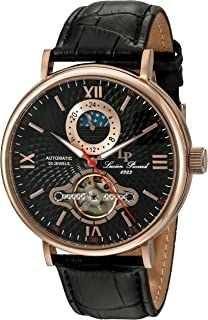 Men's 'Babylon' Automatic Stainless Steel and Black Leather Casual Watch (Model: LP-15040-RG-01)