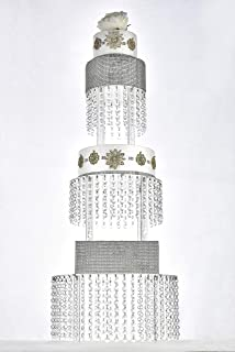 Butterflyevent 3 Tier Round Acrylic Cupcake Tower Stand with Hanging Crystal Beaded Chandelier wedding Party Dessert Cake Display Tower
